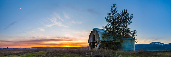 Rathdrum Prairie Barn Sunset Panorama
