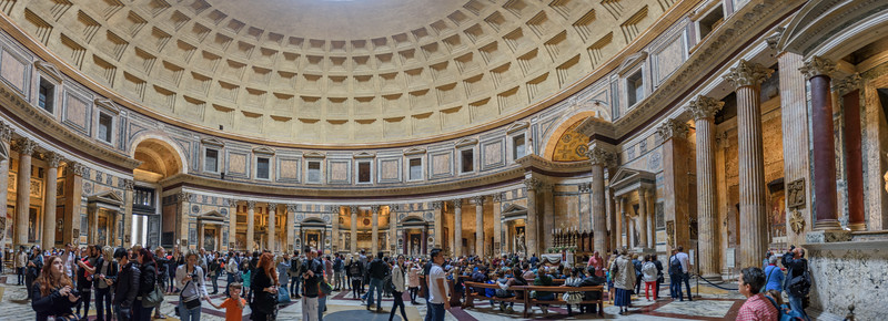 Panorama inside the rotunda of the Pantheon Roman temple in Rome, Italy