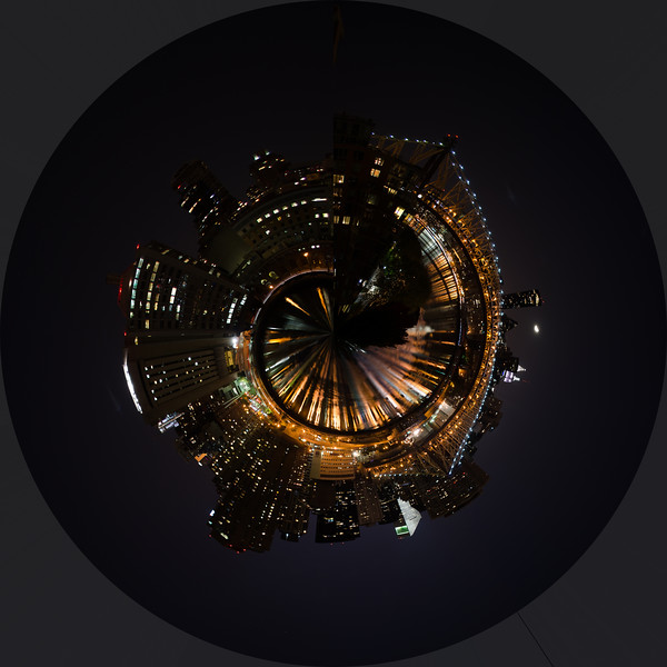 Queensboro Bridge and East Side from Roosevelt Island as Tiny Planet