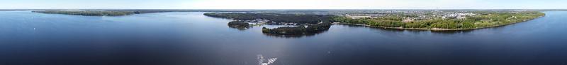 Aerial panorama over Kaunas reservoir, Kaunas, 2020-05-23