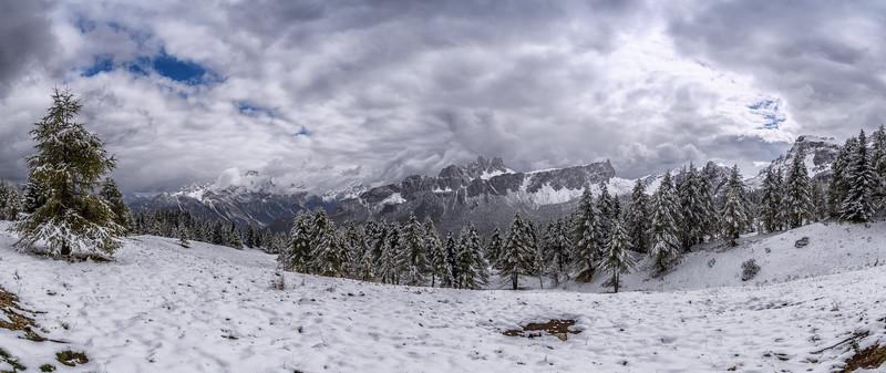 Panorama in the Dolomites near Cinque Torri (Cortina d'Ampezzo), Italy