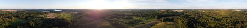 Aerial panorama over Dindos, Ignalina region, 2020-07-25