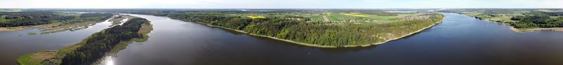 Aerial panorama over Nemunas, near Kadagių Slėnis (Juniper Valley), 2020-05-10