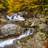 Panorama of Crystal Cascades waterfall along the Tuckerman Ravine Trail in Pinkham Notch in the White Mountains, New Hampshire