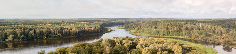 Panorama from Merkinė Observation Tower, 2017-10-07