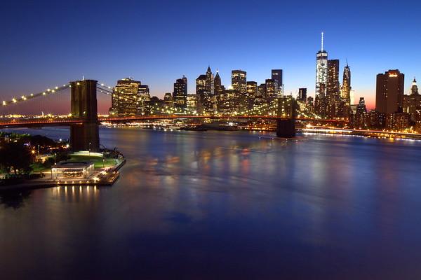 Brooklyn Bridge, viewed from Manhattan Bridge - Blue Hour