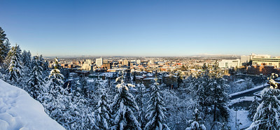 Spokane Winter Skyline Panorama