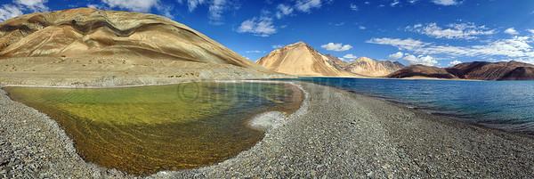P17:180 degrees view of Pangong Tso with its lagoon, Ladakh