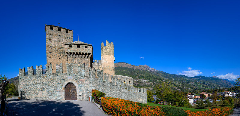 Panorama of the medieval Castello di Fenis (Fenis Castle) in the Aosta Valley, Northwestern Italy
