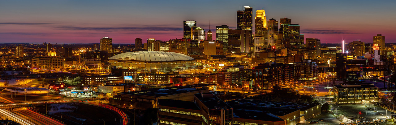 """Magenta Minneapolis: Downtown  - This panorama of downtown Minneapolis, captured just after sunset, shows the city skyline in all its night time glory.  This image is the left half of the much wider """"Magenta Minneapolis"""" panorama also available on this site."""