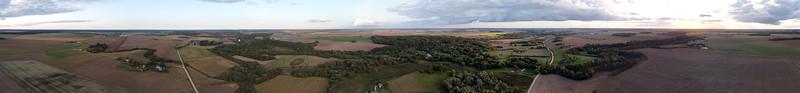 Aerial panorama near Panevežiukas, Kaunas/Kėdainiai region border, 2020-09-19
