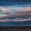 Panorama of sunrise over the Panamint Range in Death Valley, California