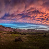 Sunset after rainstorm at Toadstool Geological Park in Northwestern Nebraska