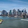 View of the Brooklyn Bridge and  Lower Manhattan from the Brooklyn side of the Manhattan Bridge, New York City