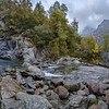 Panorama of Devil's Waterfall and Roman bridge over Chiusella Creek in Fondo di Traversella near Ivrea, Piedmont, Northwestern Italy