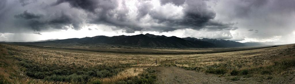 Mountain range alongside Hwy in Colorado