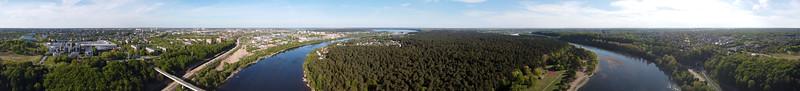 Aerial panorama over Panemunė pinewood park, Kaunas, 2020-05-10
