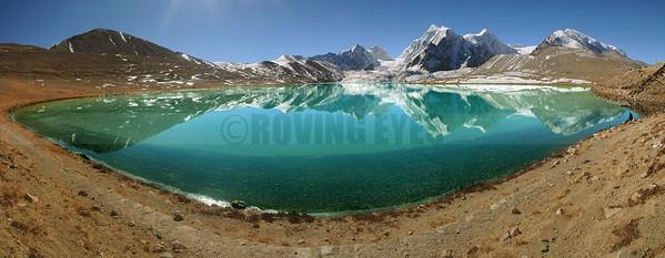 P12:180 degrees view of Gurudongmar lake(5100 Mtrs) with RajaRani peak, North Sikkim