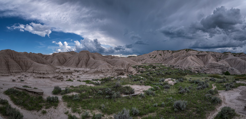 Panorama of storm clouds over Toadstool Geological Park in Northwestern Nebraska