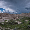 Panorama of storm clouds over Toadstool Geological Park in Northwestern Nebraska