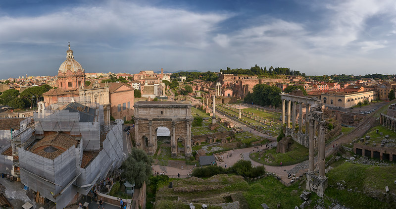 Panorama of the Forum ion Rome, Italy taken from the Mayor of Rome's office