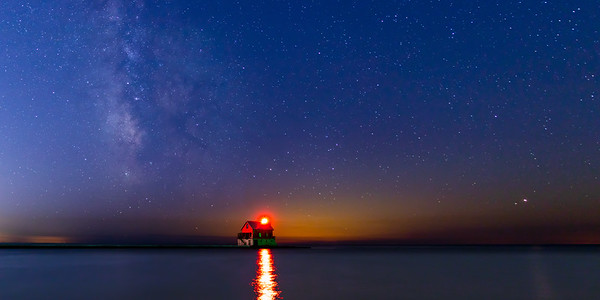 Milky Way Over the Grand Haven Pier Panorama