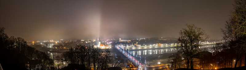 HDR panorama of Kaunas downtown from Aleksotas Observation Deck, 2020-12-24
