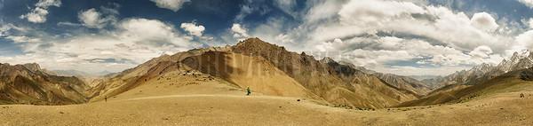 P4:Panorama from Konski la (4950 Mtrs) covering both valleys on the Lamayuru to Chilling Trek, Ladakh