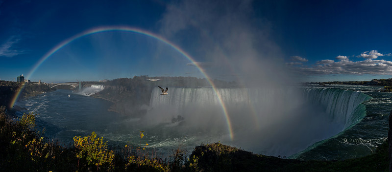 Niagara Falls Panorama with Rainbow