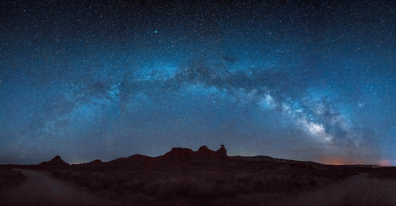 Panorama of the Milky Way over the Mexican Hat Rock formation near Bluff, Utah
