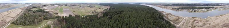 Aerial panorama around Pypliai Mound, 2020-04-18