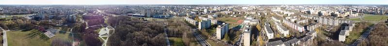 Aerial Kaunas panorama around the Draugystės park, 2020-04-06