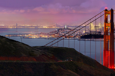 Part 1 of 4 of a 1.1 gigapixel (13,423h x 80,540w, 1x6 ratio) view of San Francisco.  Each part can be printed at 2x3 feet at 300DPI.  The panorama was created from 112, 11-second exposures with the Canon 5D MKII, a Canon 500L lens with a 1.4 extender.  The photos were taken just after sunset from the Marin Headlands on three different evenings under similar lighting conditions.  This could easily be printed at 36ft wide by 6 ft tall (200dpi) with fine resolution with no pixelation or noise visible!