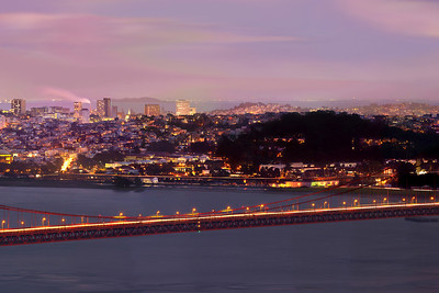 Part 3 of 4 of a 1.1 gigapixel (13,423h x 80,540w, 1x6 ratio) view of San Francisco.  Each part can be printed at 2x3 feet at 300DPI.  The panorama was created from 112, 11-second exposures with the Canon 5D MKII, a Canon 500L lens with a 1.4 extender.  The photos were taken just after sunset from the Marin Headlands on three different evenings under similar lighting conditions.  This could easily be printed at 36ft wide by 6 ft tall (200dpi) with fine resolution with no pixelation or noise visible!