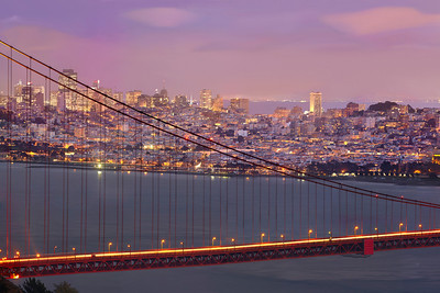 Part 2 of 4 of a 1.1 gigapixel (13,423h x 80,540w, 1x6 ratio) view of San Francisco.  Each part can be printed at 2x3 feet at 300DPI.  The panorama was created from 112, 11-second exposures with the Canon 5D MKII, a Canon 500L lens with a 1.4 extender.  The photos were taken just after sunset from the Marin Headlands on three different evenings under similar lighting conditions.  This could easily be printed at 36ft wide by 6 ft tall (200dpi) with fine resolution with no pixelation or noise visible!