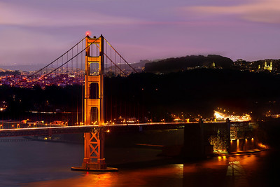 Part 4 of 4 of Part 1 of 4 of a 1.1 gigapixel (13,423h x 80,540w, 1x6 ratio) view of San Francisco.  Each part can be printed at 2x3 feet at 300DPI.  The panorama was created from 112, 11-second exposures with the Canon 5D MKII, a Canon 500L lens with a 1.4 extender.  The photos were taken just after sunset from the Marin Headlands on three different evenings under similar lighting conditions.  This could easily be printed at 36ft wide by 6 ft tall (200dpi) with fine resolution with no pixelation or noise visible!