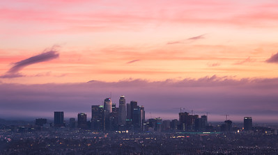 Los Angeles cityscape sunrise panorama