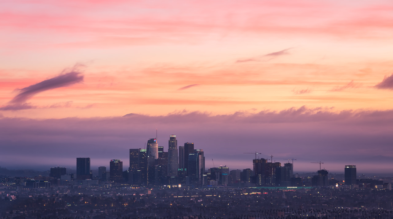 Los Angeles cityscape sunrise panorama