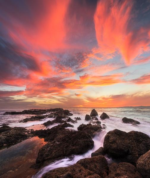 Flat rock point sunset burn vectorama, Palos Verdes CA