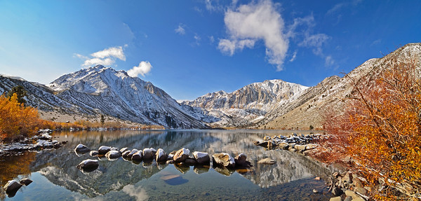 Fall colors fading at Convict Lake, Inyo National Forest, California