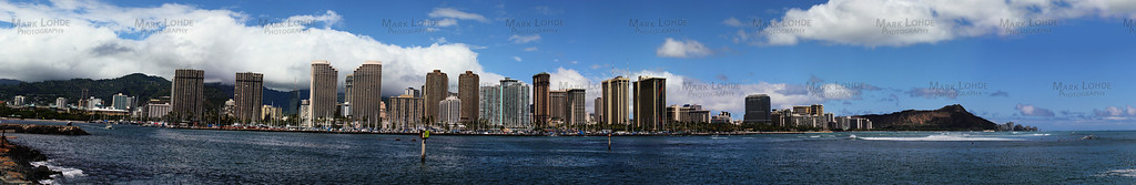 Very wide angle Panoramic of Waikiki. You can see a lot of the hotels, and clearly Diamondhead. This is made up of 41 super clear pictures!  To get better sized or custom sizes on more materials like metal, please E-Mail me at: mlohde@cox.net