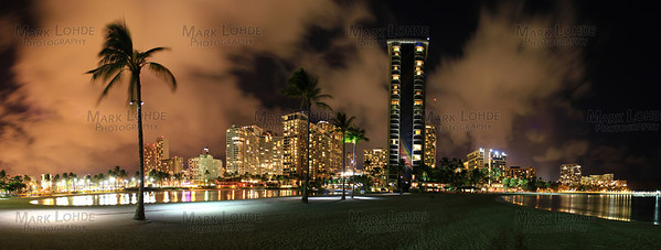 This Picture(made up of many pictures) is of Waikiki at night. Nothing is fake. Not color corrected.  To get better sized or custom sizes on more materials like metal, please E-Mail me at: mlohde@cox.net