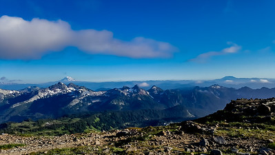 """Mount Adams, Mount Hood, Mount St. Helens from Panorama Point, Mount Rainier"""