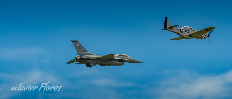 Heritage Flight of F16 and P51