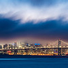 San Francisco skyline at sunset.