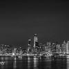 Black and White San Francisco Skyline at night