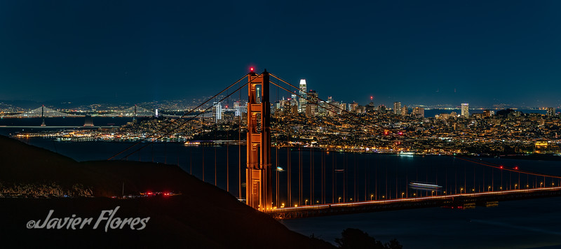 San Francisco skyline with Golden Gate Bridge