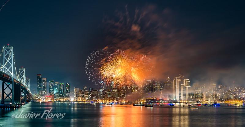 San Francisco Skyline with fireworks