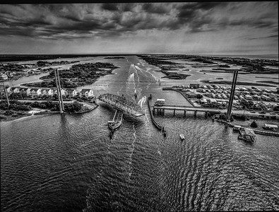Black & White Photo of Topsail Swing Bridge