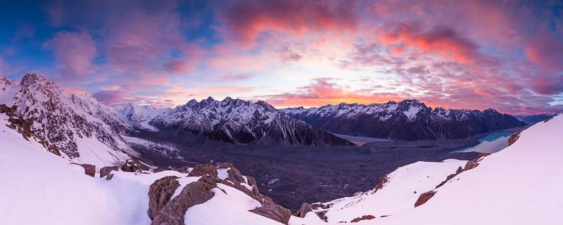 Tasman Glacier, Malte Brun Range and Burnett Mountains, Aoraki Mount Cook National Park